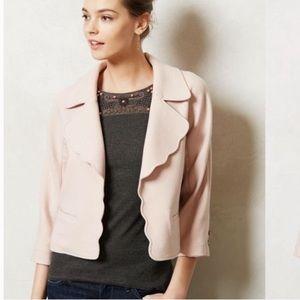 Anthro Elevenses Scalloped Pearl Blazer Jacket